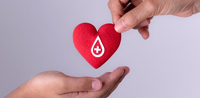 Imagem mostra uma pessoa ao doar sangue na pandemia - Qualicorp
