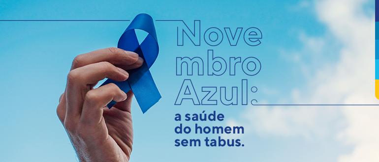 Laço azul ilustra a campanha que incentiva o autoexame para prevenção do câncer de testículo - Qualicorp