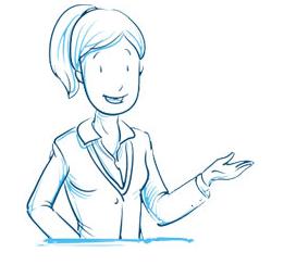 Ilustração de mulher com cabelo preso e braço esquerdo dobrado para cima indicando o texto ao lado