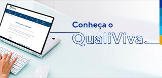 Tela de computador com uma pessoa digitando no teclado, ao lado o texto: Conheça o QualiViva