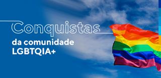andeira colorida símbolo da causa lgbtqia+ ao fundo céu azul com nuvens brancas e a frase: conquistas da comunidade lgbtqia+