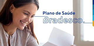 Mulher sorrindo e ao lado texto com: Plano de Saúde Bradesco