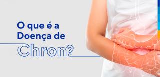 Texto: O que é a Doença de Chron? Ao lado, foto de uma pessoa com os braços ao redor da barriga.