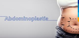 Texto: Abdominoplastia Ao lado imagem da cintura de uma pessoa com desenhos pontilhados.